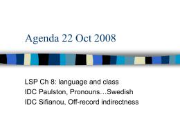 Agenda 22 Oct 2008