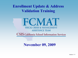 CSIS Statewide Student ID Enrollment Update & Locator