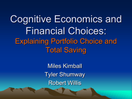 Cognitive Economics and Financial Sophistication