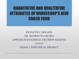 QUANITATIVE AND QUALITATIVE ATTRIBUTES OF NEW …