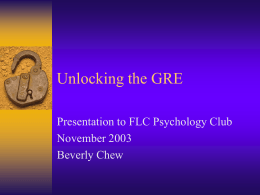 Unlocking the GRE - Fort Lewis College