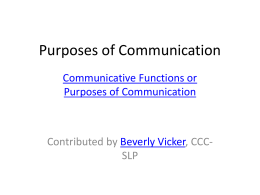 Purposes of Communication - Intermediate District 287