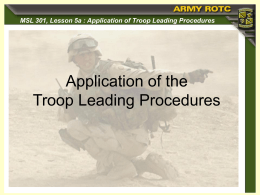 Application of Troop Leading Procedures