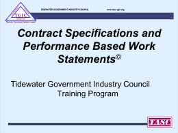 Contract Specs and PBWSs - Tidewater Association of