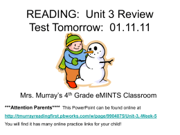 Unit 3 Review - tmurrayreadingfirst / FrontPage