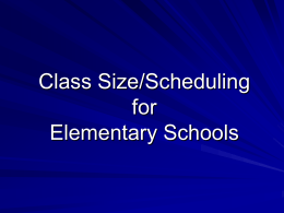ISIS Update for Class Size Elementary Schools