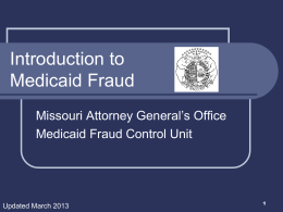 Introduction to Medicaid Fraud