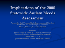 Interim Report of the Alabama Autism Collaborative Group