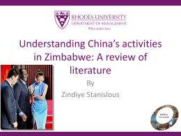 Understanding China's activities in Zimbabwe: A review …