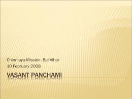 Vasant Panchami - Chinmaya Mission Twin Cities