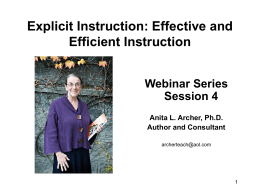 Explicit Instruction: Effective and Efficient Instruction