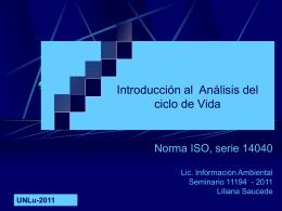 ANALISIS DEL CICLO DE VIDA - ACV