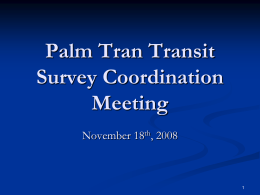Palm Tran Transit Survey Coordination Meeting