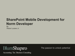 SharePoint Mobile Development for Norm Developer