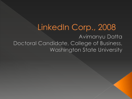 Linkedin Corp., 2008 - Entrepreneurial Management