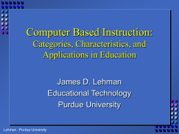 Computer Assisted Instruction - Department of Curriculum