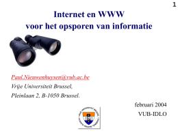 Internet en WWW voor het opsporen van informatie