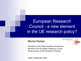 European Research Council - a new element in the UE