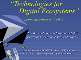 "Technologies for Digital Ecosystems"" supporting growth …"