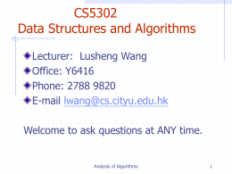 Analysis of Algorithms - City University of Hong Kong