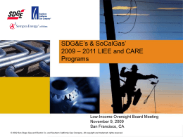Implementation of SDG&E's 2009 – 2011 LIEE Program
