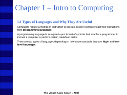 Chapter 1 – Introduction to Computing