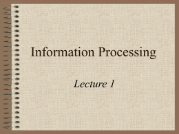 Information Processing - Liverpool Hope University