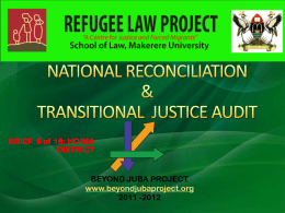 NATIONAL RECONCILIATION & TRANSITIONAL JUSTICE …