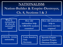 NATIONALISM: Nation-Builder & Empire
