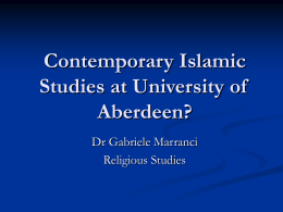 Contemporary Islamic Studies at University of Aberdeen?