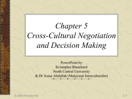 Chapter 5 Cross-Cultural Negotiation and Decision …