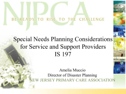 Special Needs PPT - New Jersey Preparedness Training