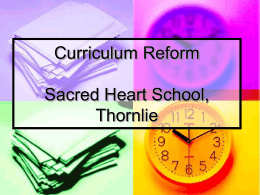 Curriculum Reform 2004 Sacred Heart School, Thornlie
