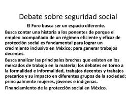 Debate sobre seguridad social