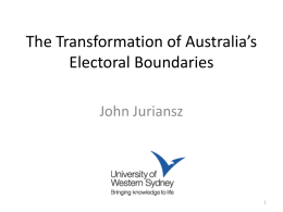 The Transformation of Australia's Electoral Boundaries