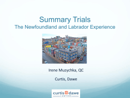 Summary Trials The Newfoundland and Labrador …