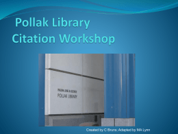 Citation Workshop: - California State University, Fullerton