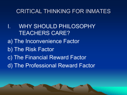 CRITICAL THINKING FOR INMATES - AAPT