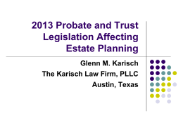 2013 Probate and Trust Legislation Affecting Corporate