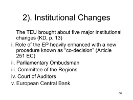 Introduction to the Law and Institutions of the EU