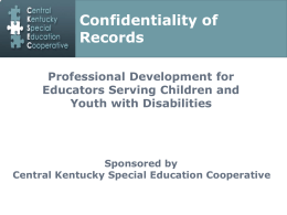 Confidentiality of Records Professional Development for