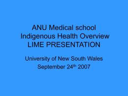 ANU Medical school Indigenous Health Overview LIME