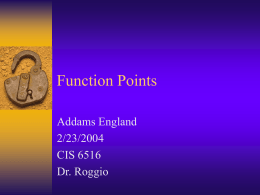 Function Points - University of North Florida
