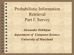 Probabilistic Information Retrieval