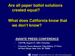 Avante's Election 101