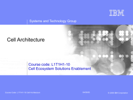 CourseCode L1T1H1-10 CellArchitecture
