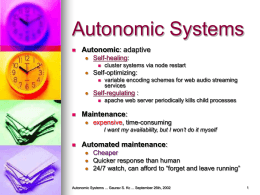 Distributed Autonomic Systems