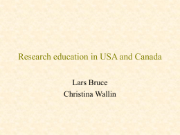 Research education in USA and Canada