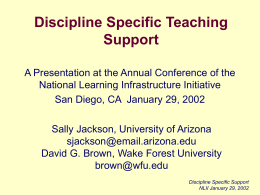Discipline Specific Teaching Support