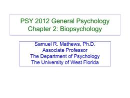 PSY 2012 General Psychology Chapter 2: Biopsychology